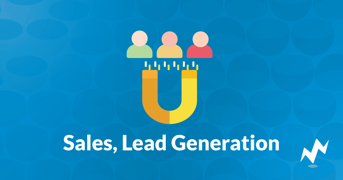 "Text that says ""Sales, Lead Generation"" with an icon of a magnet attracting people"