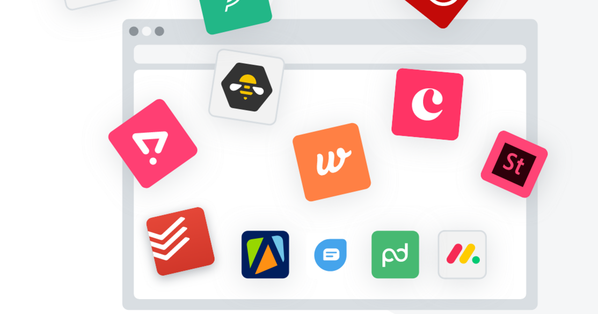 A stylized browser window with SaaS subscription icons