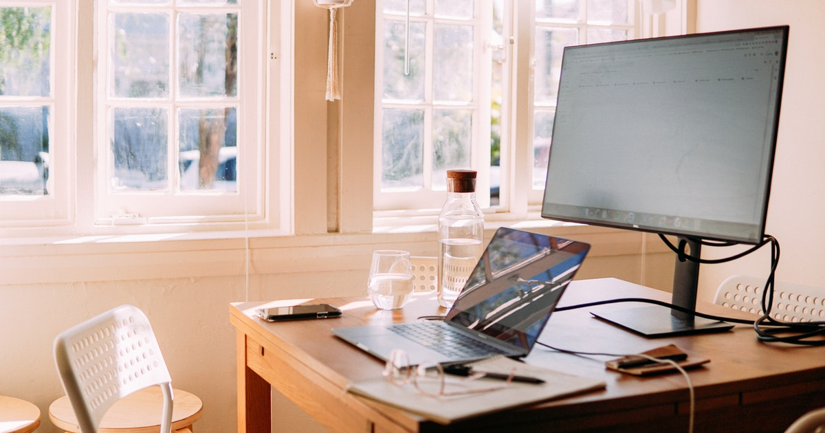 A work-from-home computer set-up