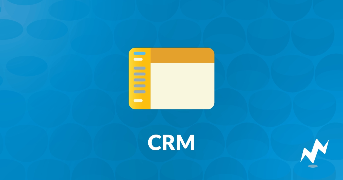 "An icon of a CRM software interface above the acronym ""CRM"""