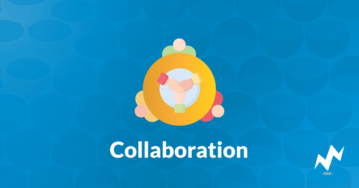 "Text that says ""Collaboration"" under an icon showing people working together"