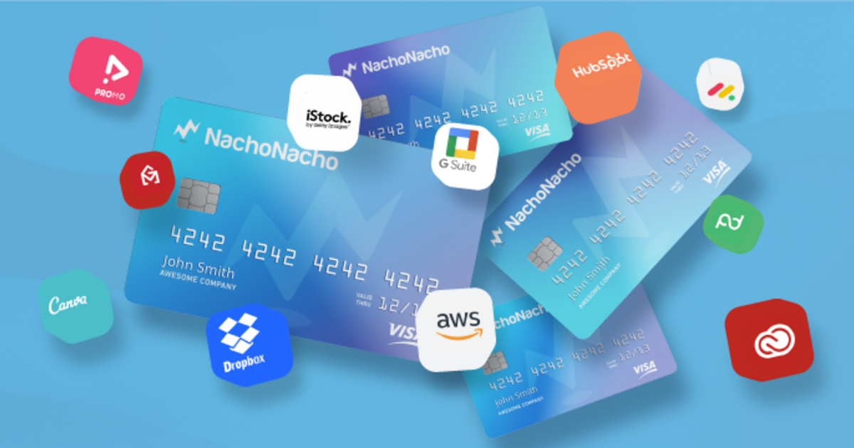 Virtual NachoNacho credit cards interposed with SaaS logos